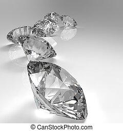 diamants, isolé, blanc