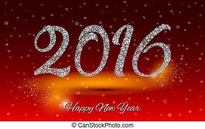 diament, card., powitanie, tło, rok, nowy, 2016, szczęśliwy