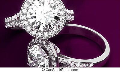 diament, dzwoni, na, purpurowe tło