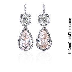 diament, earrings, odizolowany, na białym, tło.