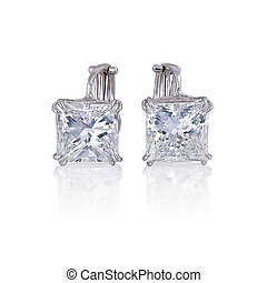 diament, earrings, odizolowany, na, white.