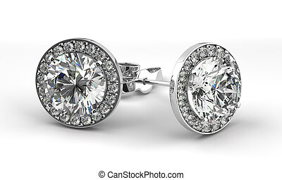 diament, earrings