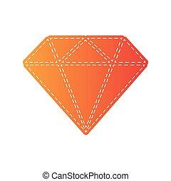 diament, illustration., isolated., znak, applique, pomarańcza