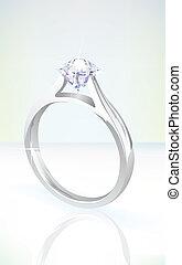 diament, złoty, jasny, zaręczynowe kolisko, biały
