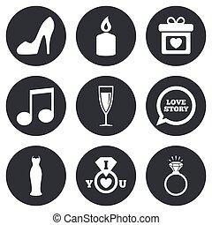 diamond., αρραβώνας , γάμοs , δακτυλίδι , icons.