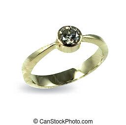 diamond., ベクトル, リング, 金, 結婚式