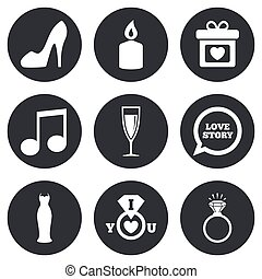 diamond., 交渉, 結婚式, リング, icons.