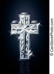 Diamond 3d cross vector