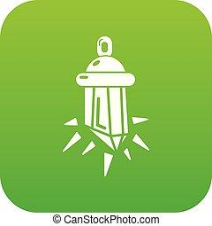 Diamond amulet icon green vector