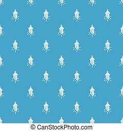 Diamond amulet pattern vector seamless blue