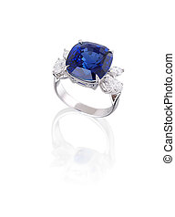 Diamond and blue sapphire ring isolated on white.