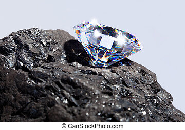 Photo of a single cut diamond on a piece of coal against a plain background.