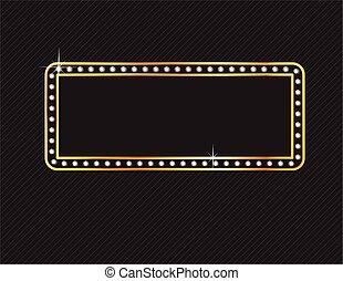 Diamond and Gold Frame on Black