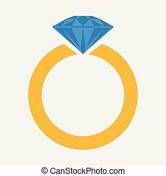 diamond., anneau, icône