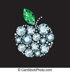 Diamond Apple - apple sign made of gems