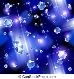 Falling diamond background under blue light. Vector illustration