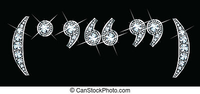 Stunningly beautiful punctuation marks set in diamonds and silver, to include parentheses, period, comma, and quotation marks.