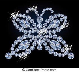 Diamond butterfly card, vector