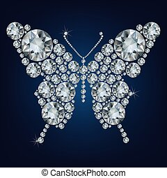 Diamond butterfly, vector illustration