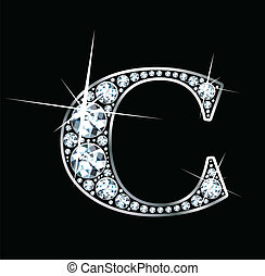 "Diamond ""C"" - A stunningly beautiful ""C"" set in diamonds and..."