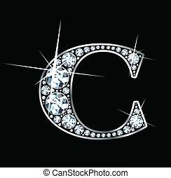 "Diamond \""C\"" - A stunningly beautiful \""C\"" set in diamonds..."
