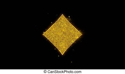 Diamond Card Suit Icon Sparks Particles on Black Background....