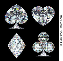 Diamond Card Suits isolated over black