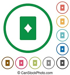 Diamond card symbol flat icons with outlines