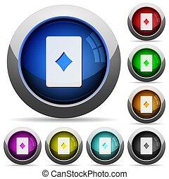 Diamond card symbol round glossy buttons