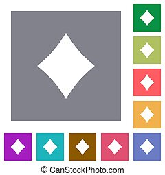 Diamond card symbol square flat icons