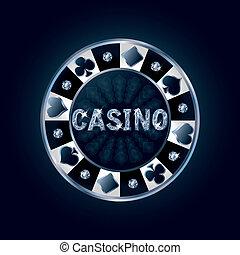 Diamond casino poker chip, vector illustration