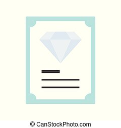 diamond certificate, jewelry related icon, flat design.