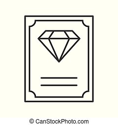 diamond certificate, jewelry related, outline vector icon