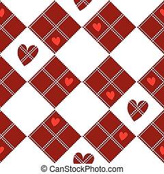 Diamond Chessboard Red Heart Valentine Background
