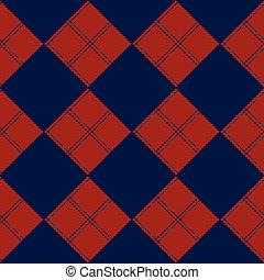 Diamond Chessboard Red Navy Blue Background