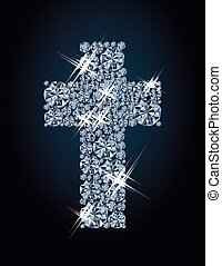 Diamond christian cross, greeting background, vector illustration