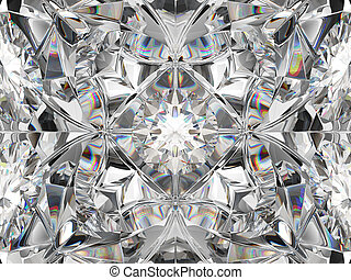 Diamond closeup and kaleidoscope pattern. top view of round gemstone 3d render, 3d illustration