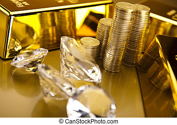 Diamond, coins and gold