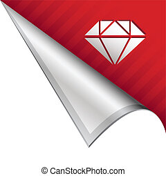 Diamond corner tab - Diamond icon on vector peeled corner...