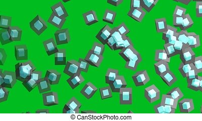 diamond cube inside and gray cube block flying and faded in the end on green screen