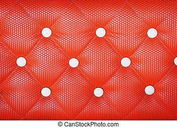 diamond cushion pattern of orange vintage sofa, texture and background