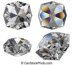 diamond cut gem isolated