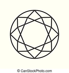 diamond cut, jewelry related outline vector icon