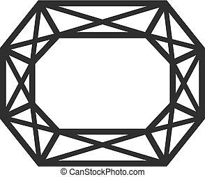 Diamond cut shape, top view