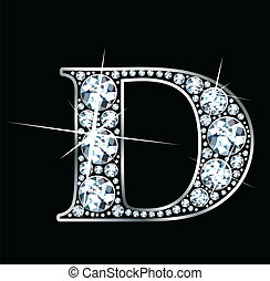 "Diamond ""D\"" - A stunningly beautiful \""D\"" set in diamonds..."