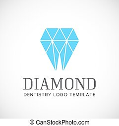 Diamond Dentistry Tooth Abstract Vector Logo Template