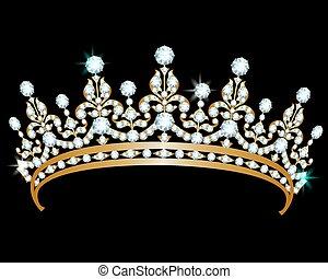 Diamond diadem - Gold diadem with diamonds on black...