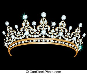 Diamond diadem - Gold diadem with diamonds on black...