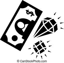 Diamond dollar banknote icon, simple style