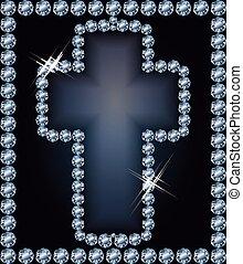 Diamond Easter cross , vector illustration